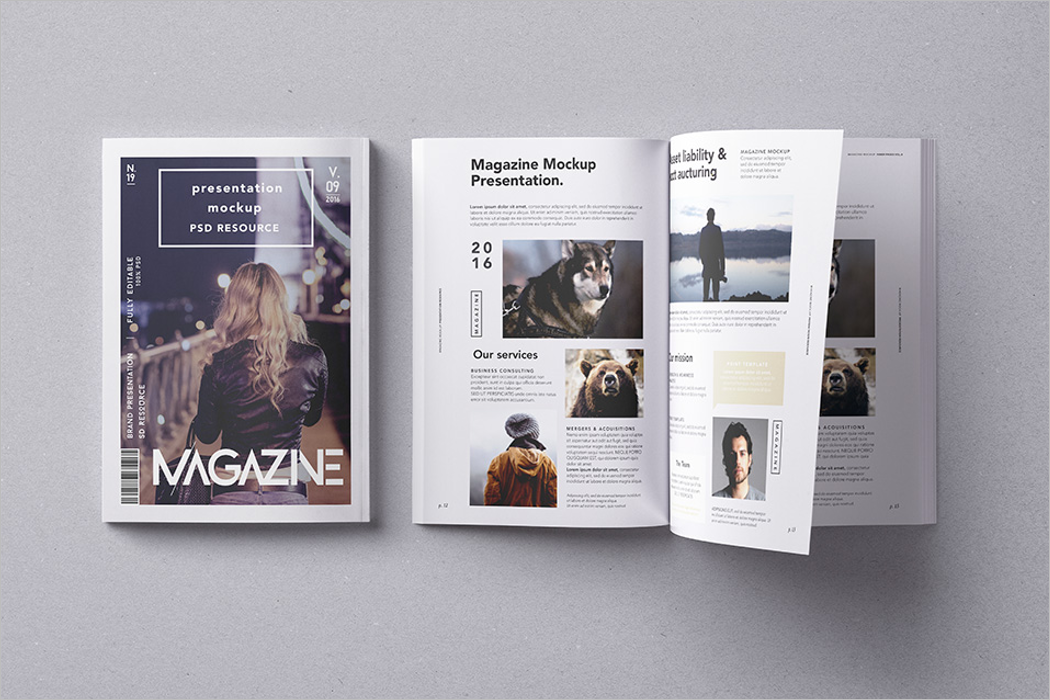Fashion Magazine Mockup PSD