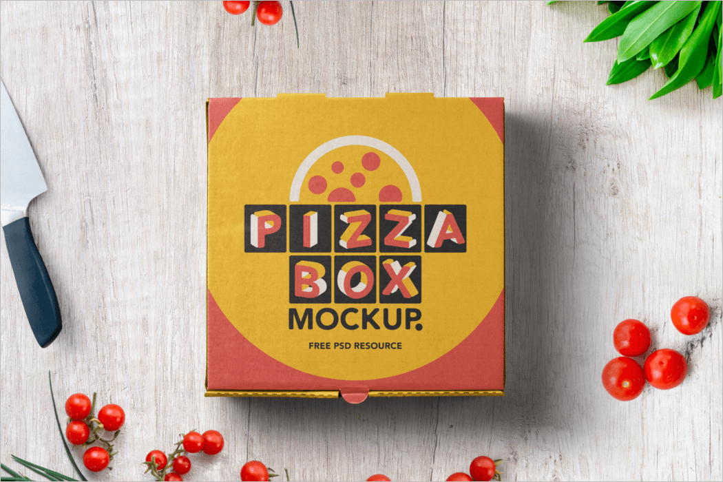 Pizza Box Packaging Mockup Template