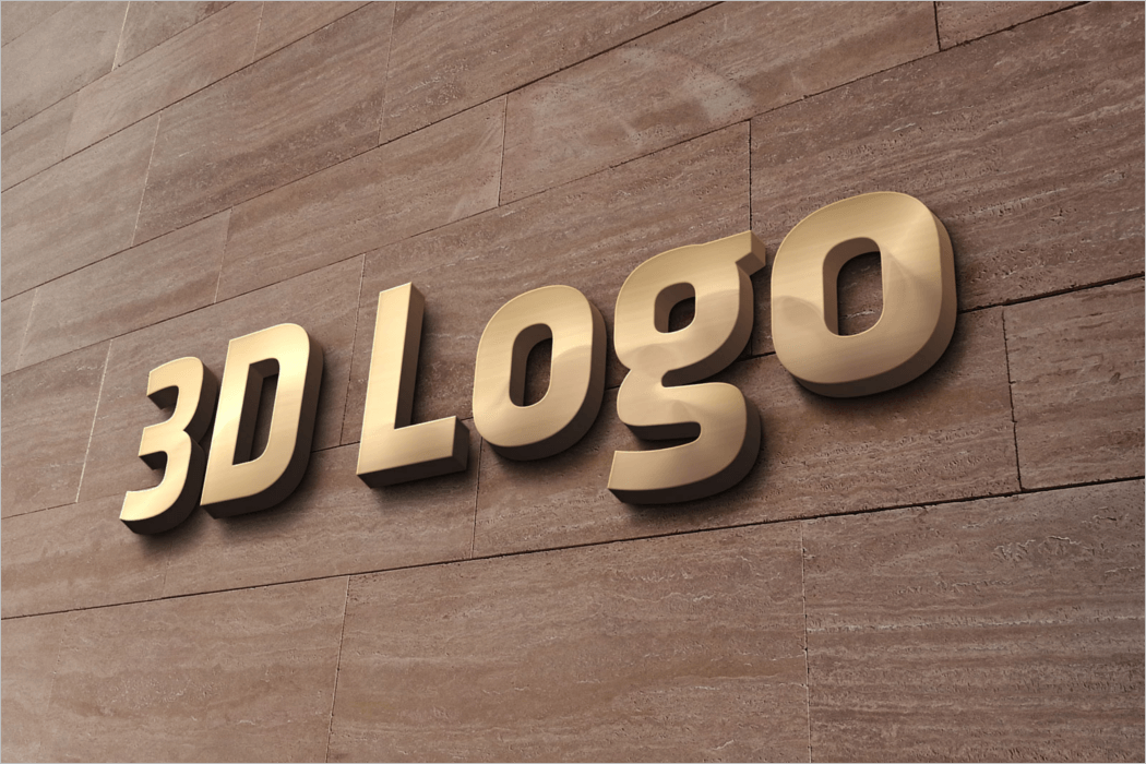 3D Office Wall Sign Logo Mockup