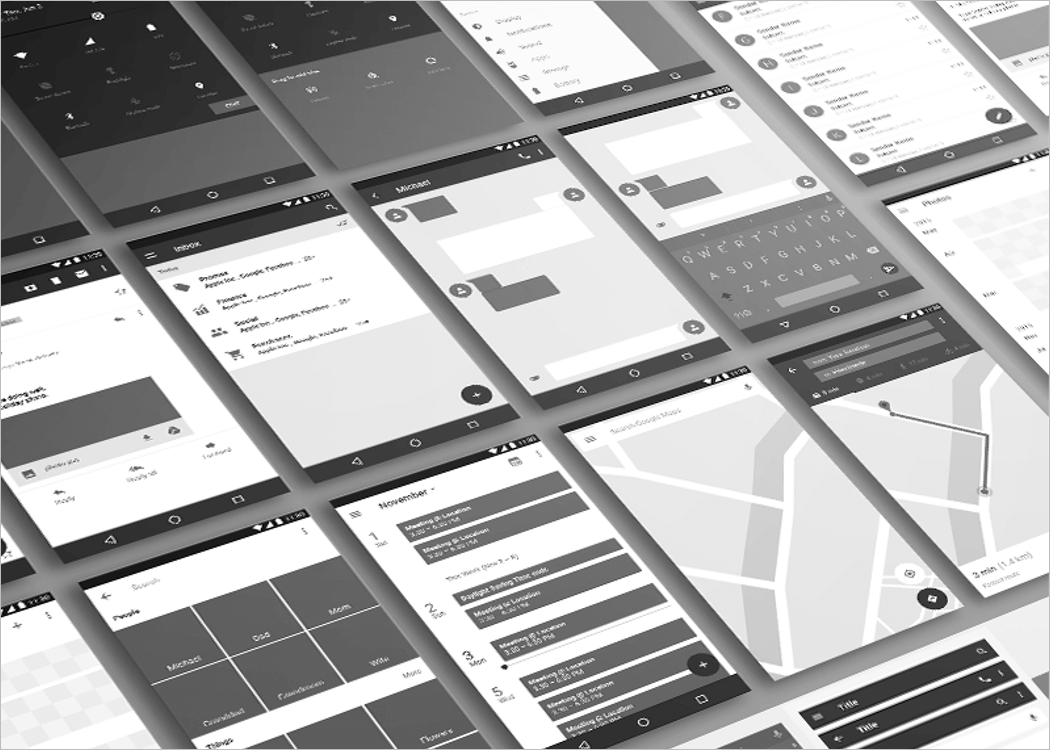 Android Wireframe Mockup PSD