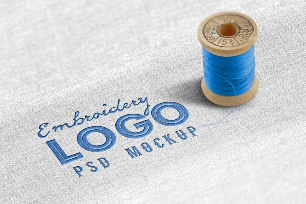 Cloth Fabric Embroidery Logo Mockup