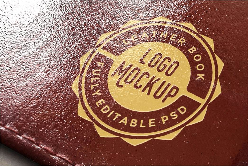 Leather Book Logo Mockup