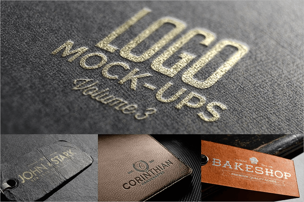 Leather Logo Mockup PSD