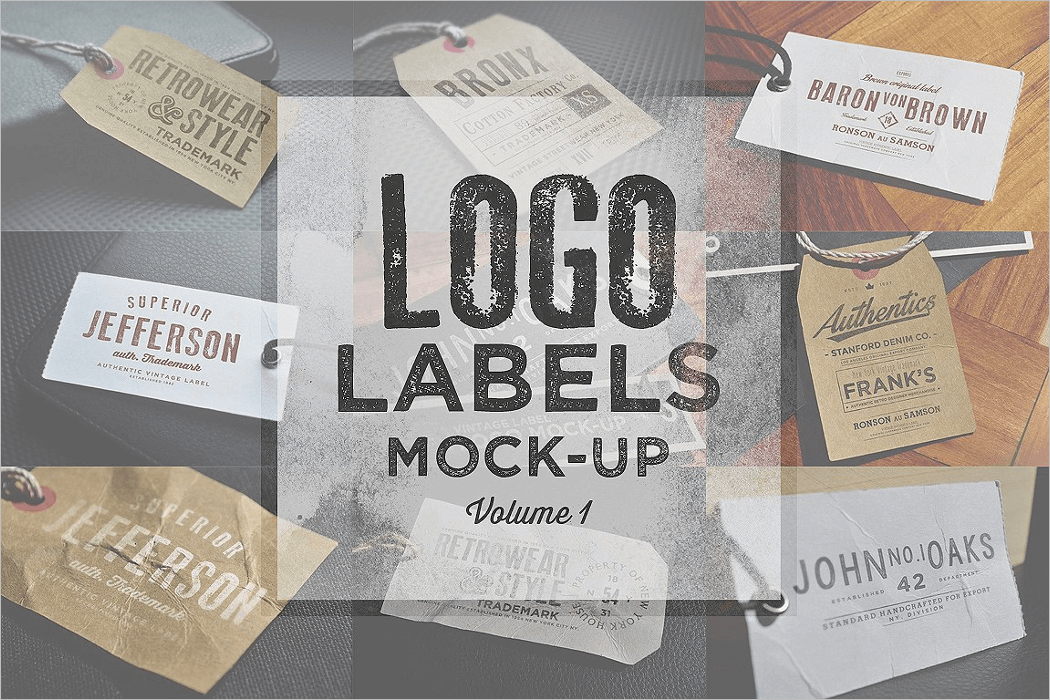 Logo Labels Mockup PSD