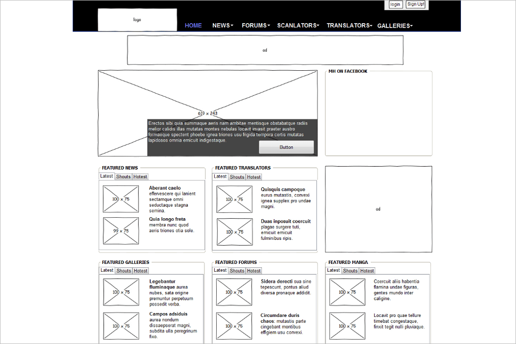 Wireframe Example For Mockup Design
