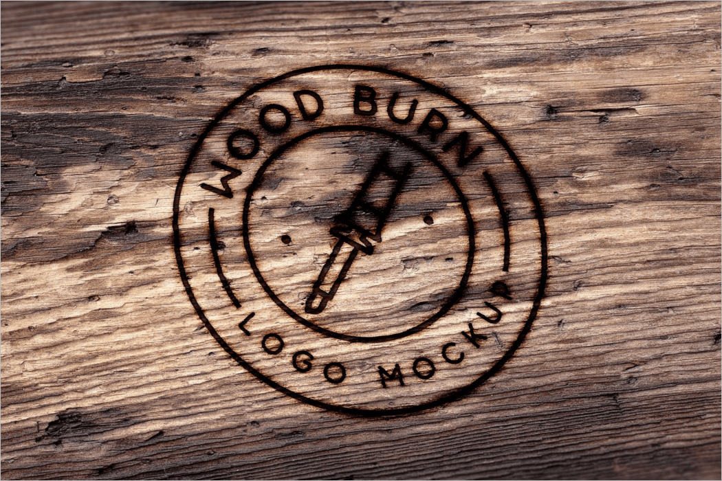 Wood Burn Logo Mockup Template